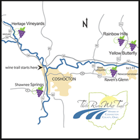 Map of the Three Rivers Wine Trail of Coshocton County Ohio